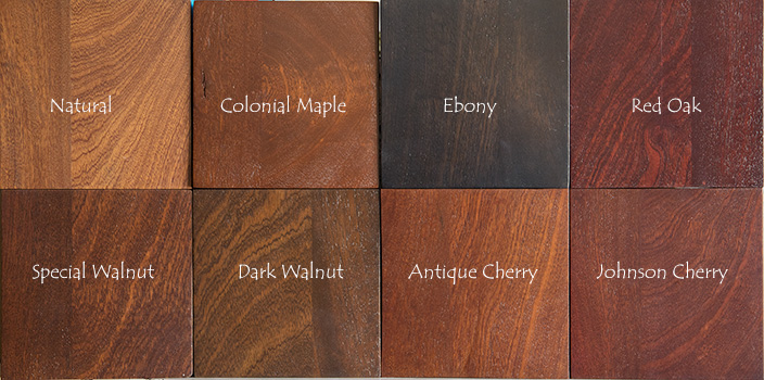 Sapele Stain Color Chart
