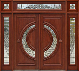 tiffany doors with sidelights and 3 piece transom